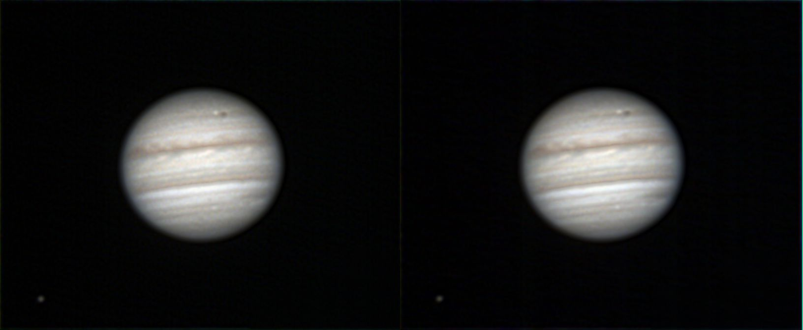 A Stereo image of Jupiter and its moons.