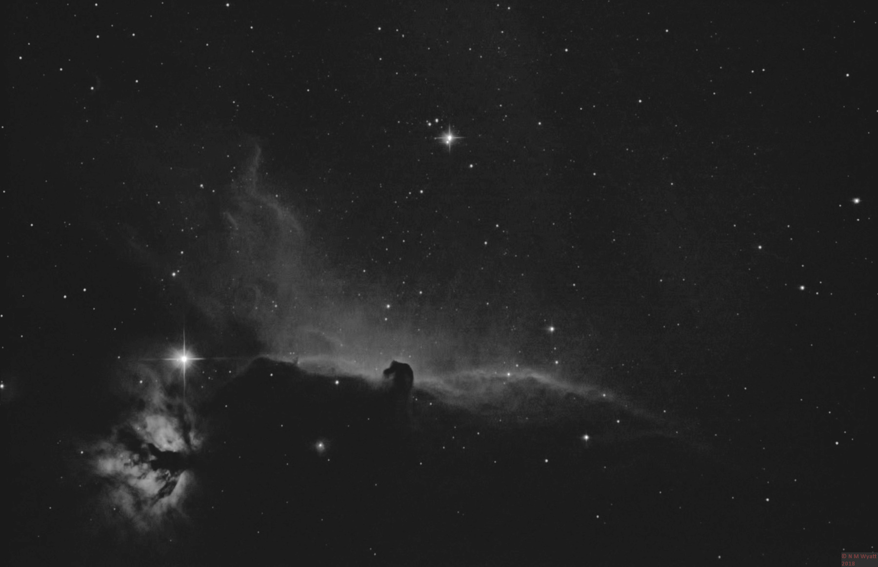 Horsehead and Flame nebulas in Hydrogen Alpha (Ha) light